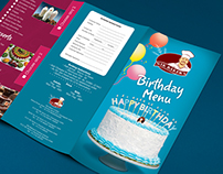 Nik Bakers Birthday Menu Card