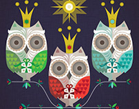 Three wise owls. Christmas Greeting card design.
