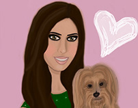 Lori & Her Dog - Commissioned Artwork