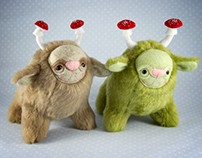 Forest Spirits with Toadstool Antlers, soft art toys