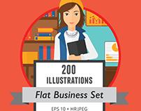200 vector flat design business illustrations set