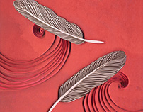 Feathers in the wind paper art