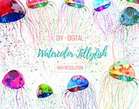 Watercolor Tropical Jellyfish