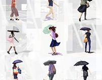 9 women under parasols 7363/pcg1706-1709