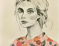 Watercolor/Charcoal Portraits