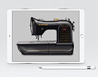 Sewing Machine Technical Drawing