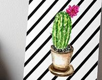 Cacti in a pot watercolor