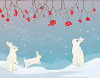 Christmas card. Winter landscape with rabbits.