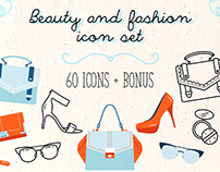 Beauty and fashion icon set
