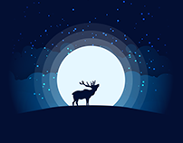 Animal Silhouette Moonlight