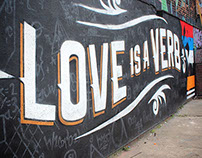 Love Is A Verb Wedding Mural