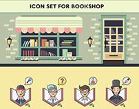 Icon set for bookshop