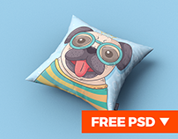 Square Pillow / Cushion MockUp + FREE PSD