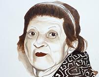 Retrato con vino Abuela Tere