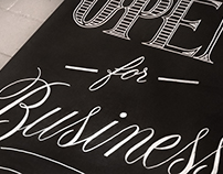 """Open for Business"" Hand Lettering"
