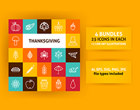 Thanksgiving Line Art Icons