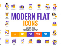 Collection of Flat modern color design icons