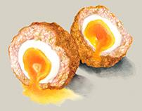 Watercolour food illustration. The Scotch Egg