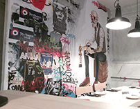 Mural art in Malauva Restaurant, Vigo. Acrylic Paint.
