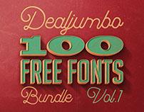 Dealjumbo 100 Free Fonts Giga Bundle v.1