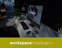 Home Office Workspace Mockup Set
