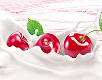Berries in drinking yoghurt