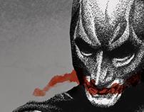 Joker and Batman Pointillism Poster
