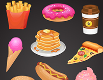Fast food menu. Collection of vector icons.