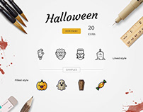 Halloween Icon Pack - Lined & Filled