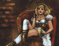 Steampunk blonde with beer