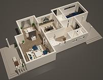 Villa 3D floor plan