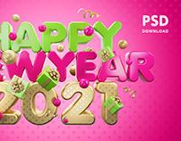 Happy New Year 2021 / 4000×2500 pixels / PSD