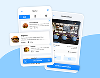 Restaurant reservation and food ordering app concept