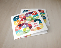 Square Colorful Circles Pattern Trifold