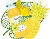 Etiquette packaging bouteille jus smoothie Eqvita,