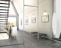 3D Interior with Glass Door and Metal Frames 01