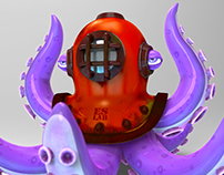 Diving helmet octopus head