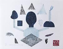 Ice Queen | linocut monotype print