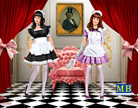 Maid cafe girls. Box art for Master Box
