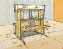 Architectural design sketches and conceptual drawings