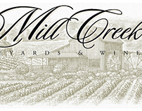 Mill Creek Winery Label Illustrated by Steven Noble
