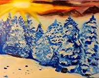 Wintry Landscape Painting