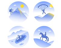 Mountain tourism icons