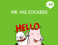 Mr. Pig Sticker Pack for Line