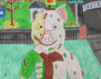 Inktober 2016 #10: Tim the Zombie pig man