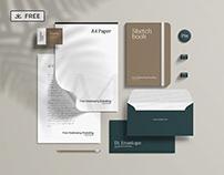 Free Stationery Branding Mockup - Scene Creator