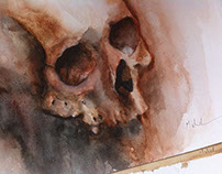 Watercolour skull