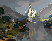 Gothic Castle - Impressionistic Illustration