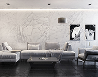 Minimalistic living room 3D-Visualization&Design