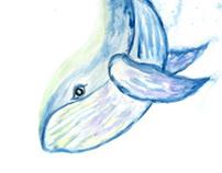 Cute whale watercolor